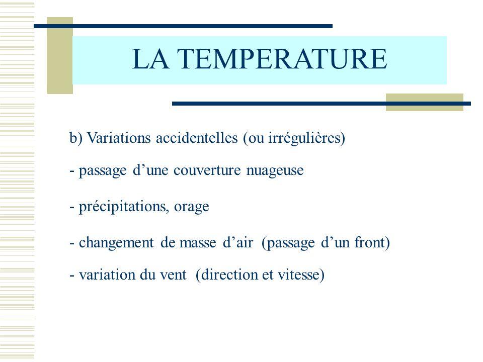 b) Variations accidentelles (ou irrégulières) LA TEMPERATURE - passage dune couverture nuageuse - précipitations, orage - changement de masse dair (pa