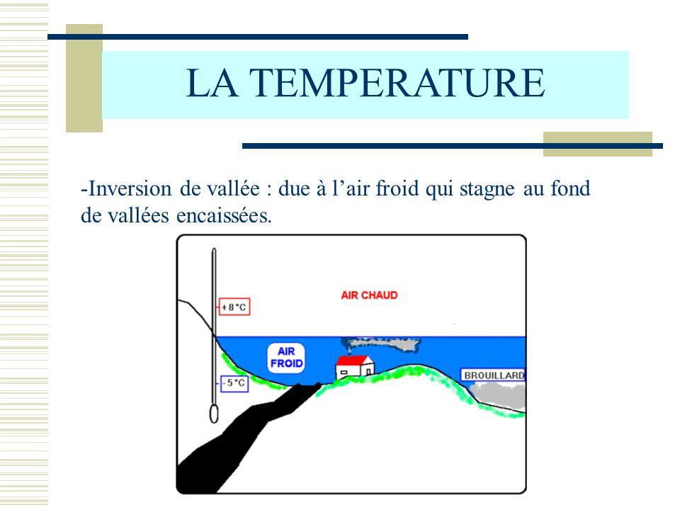 LA TEMPERATURE -Inversion de vallée : due à lair froid qui stagne au fond de vallées encaissées.