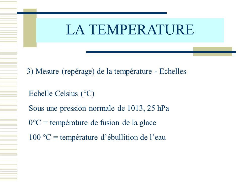 LA TEMPERATURE 3) Mesure (repérage) de la température - Echelles Echelle Celsius (°C) Sous une pression normale de 1013, 25 hPa 0°C = température de fusion de la glace 100 °C = température débullition de leau