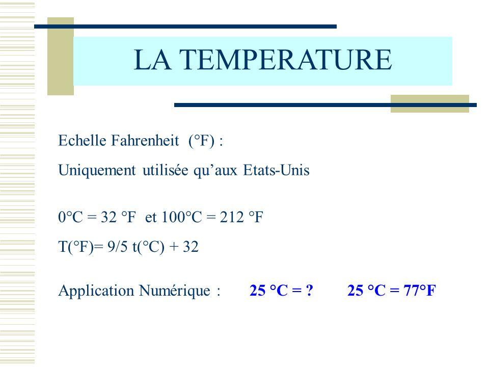 LA TEMPERATURE Echelle Fahrenheit (°F) : Uniquement utilisée quaux Etats-Unis 0°C = 32 °F et 100°C = 212 °F T(°F)= 9/5 t(°C) + 32 Application Numérique :25 °C = ?25 °C = 77°F