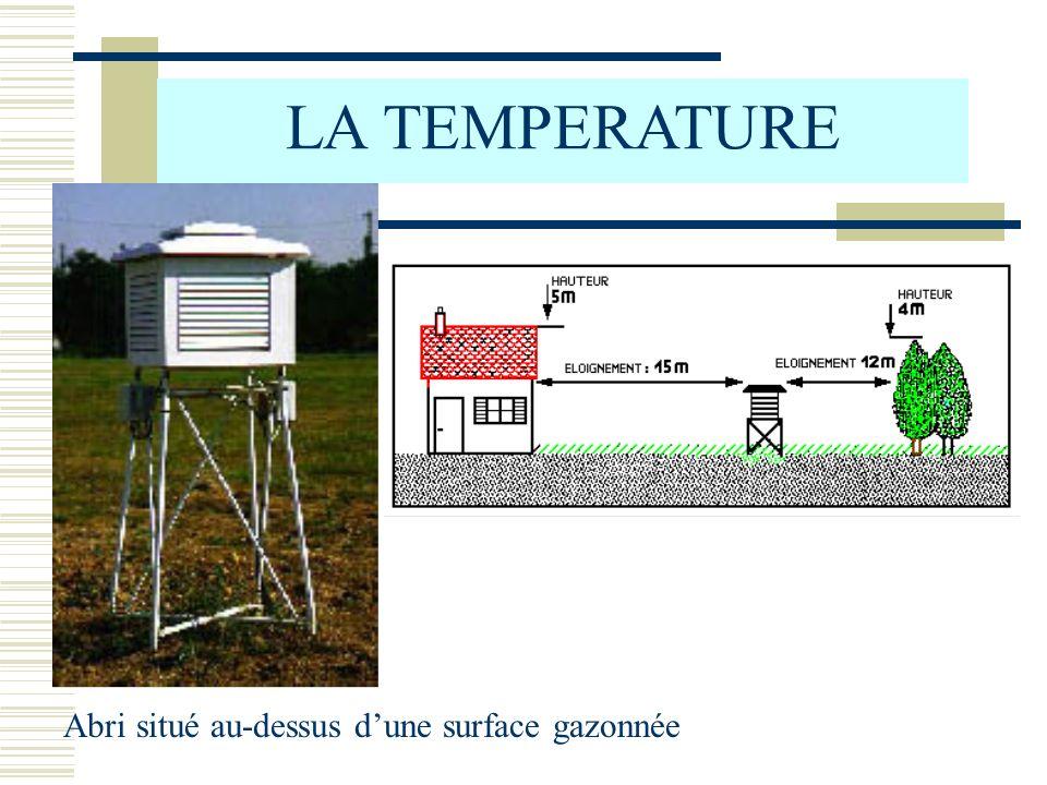 b) Variations accidentelles (ou irrégulières) LA TEMPERATURE - passage dune couverture nuageuse - précipitations, orage - changement de masse dair (passage dun front) - variation du vent (direction et vitesse)