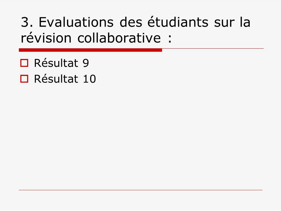 3. Evaluations des étudiants sur la révision collaborative : Résultat 9 Résultat 10