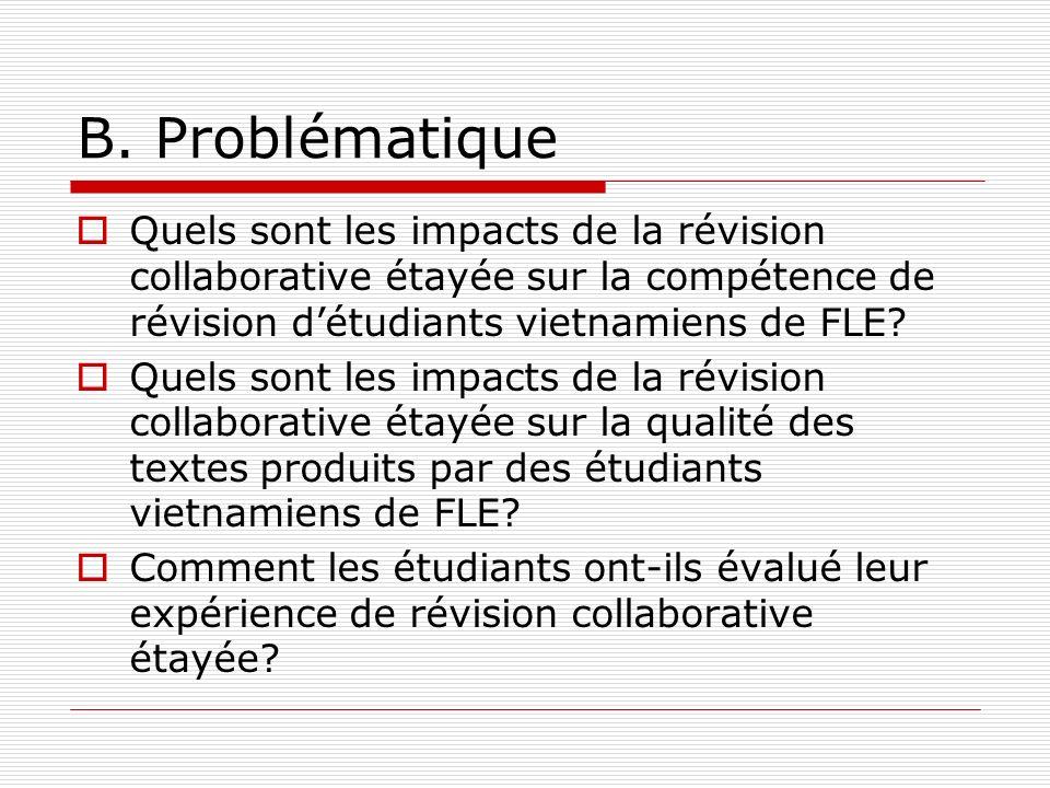 B. Problématique Quels sont les impacts de la révision collaborative étayée sur la compétence de révision détudiants vietnamiens de FLE? Quels sont le