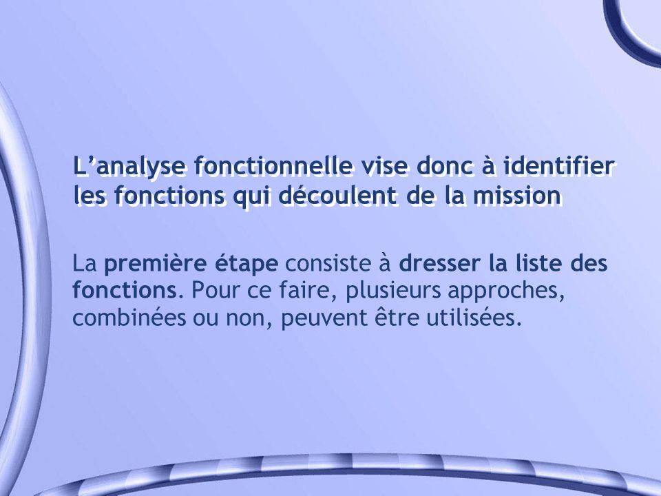 Lanalyse fonctionnelle vise donc à identifier les fonctions qui découlent de la mission La première étape consiste à dresser la liste des fonctions. P