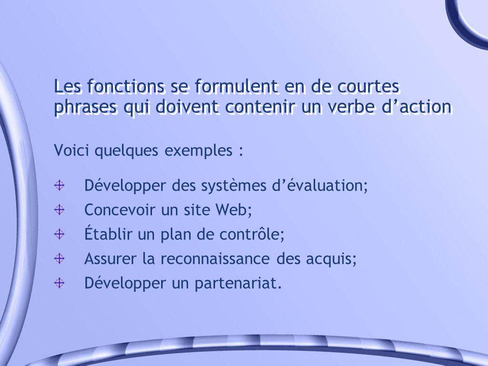 Les fonctions se formulent en de courtes phrases qui doivent contenir un verbe daction Voici quelques exemples : Développer des systèmes dévaluation;