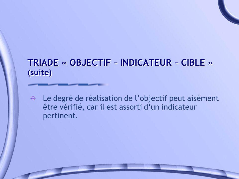 TRIADE « OBJECTIF – INDICATEUR – CIBLE » (suite) Le degré de réalisation de lobjectif peut aisément être vérifié, car il est assorti dun indicateur pe