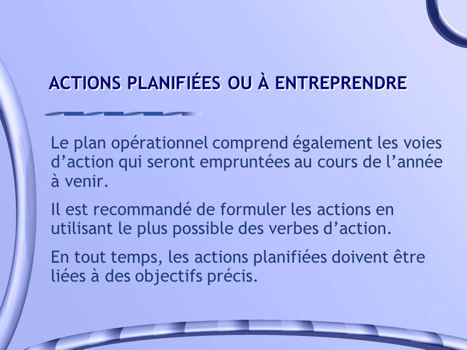 ACTIONS PLANIFIÉES OU À ENTREPRENDRE Le plan opérationnel comprend également les voies daction qui seront empruntées au cours de lannée à venir. Il es
