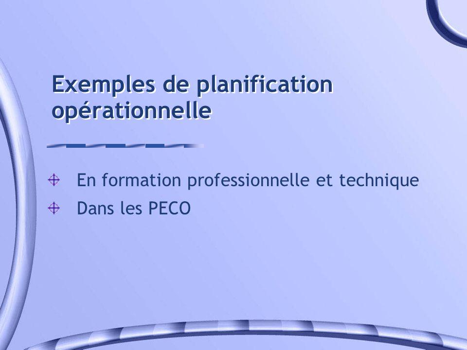 Exemples de planification opérationnelle En formation professionnelle et technique Dans les PECO