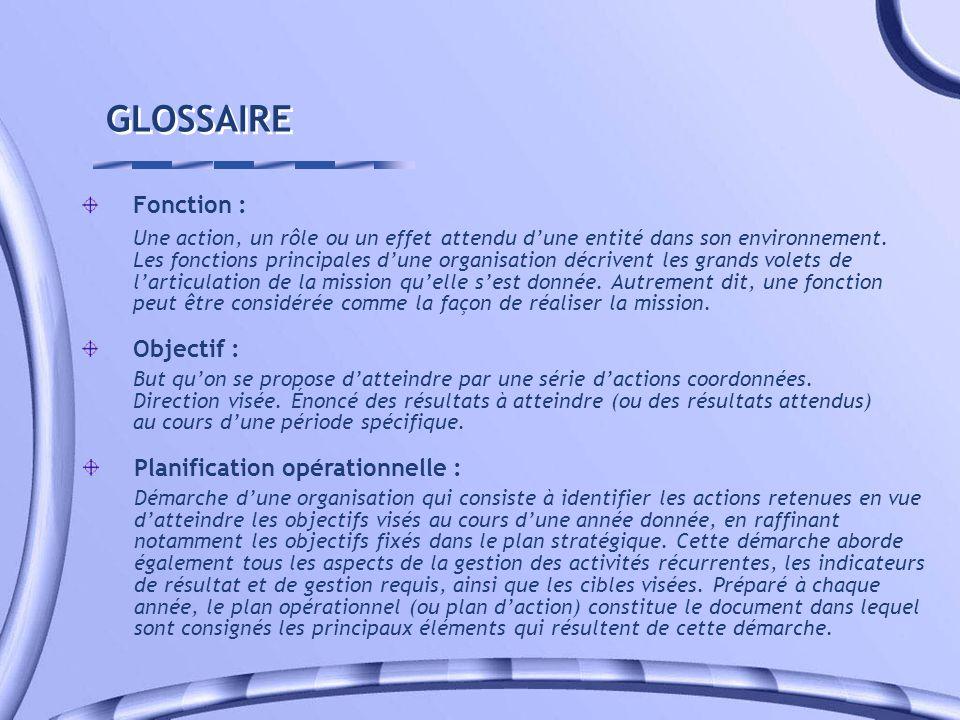 GLOSSAIRE Fonction : Une action, un rôle ou un effet attendu dune entité dans son environnement. Les fonctions principales dune organisation décrivent