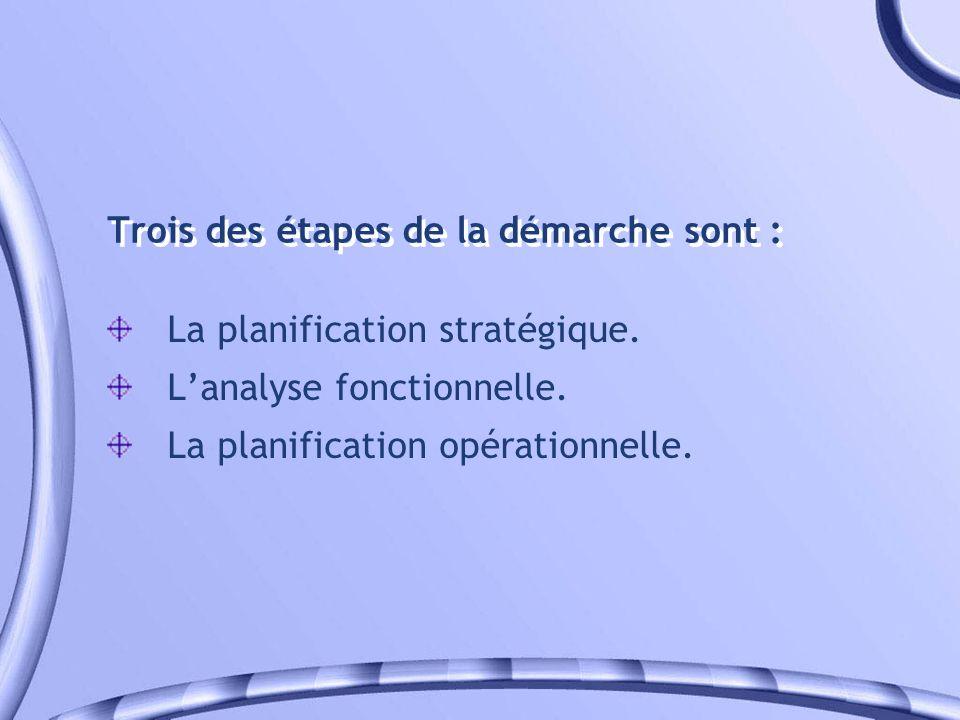 Trois des étapes de la démarche sont : La planification stratégique. Lanalyse fonctionnelle. La planification opérationnelle.