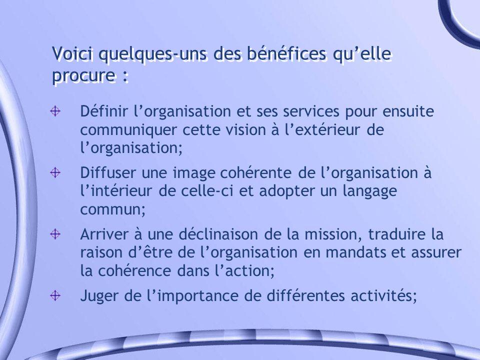 Voici quelques-uns des bénéfices quelle procure : Définir lorganisation et ses services pour ensuite communiquer cette vision à lextérieur de lorganis