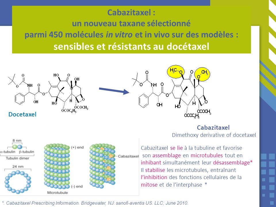 Docetaxel Cabazitaxel Dimethoxy derivative of docetaxel Cabazitaxel : un nouveau taxane sélectionné parmi 450 molécules in vitro et in vivo sur des mo