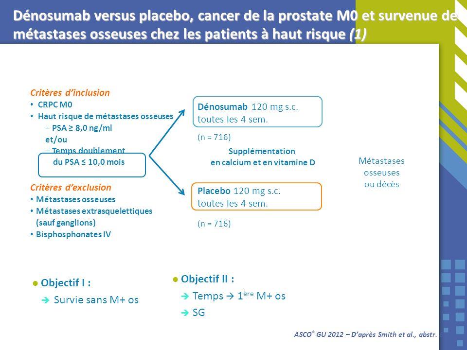 ASCO ® GU 2012 – Daprès Smith et al., abstr. 6 Dénosumab versus placebo, cancer de la prostate M0 et survenue de métastases osseuses chez les patients
