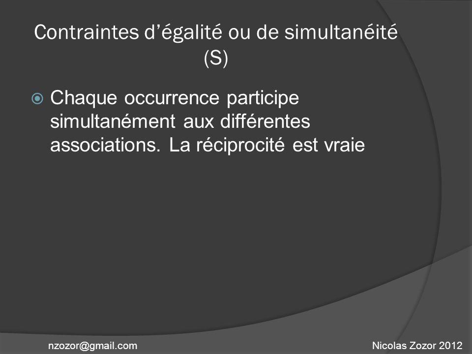 Contraintes dégalité ou de simultanéité (S) Chaque occurrence participe simultanément aux différentes associations. La réciprocité est vraie Nicolas Z