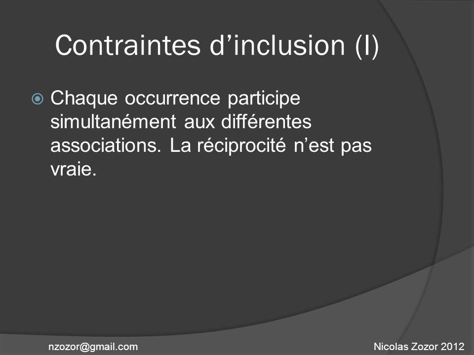 Contraintes dinclusion (I) Chaque occurrence participe simultanément aux différentes associations. La réciprocité nest pas vraie. Nicolas Zozor 2012nz