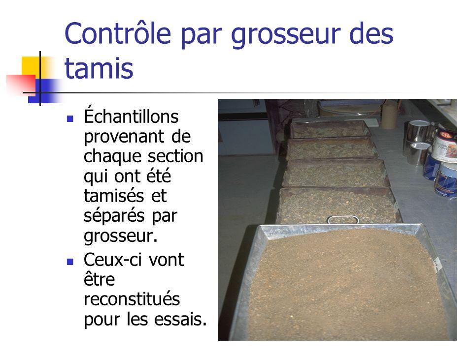 Contrôle par grosseur des tamis Échantillons provenant de chaque section qui ont été tamisés et séparés par grosseur. Ceux-ci vont être reconstitués p
