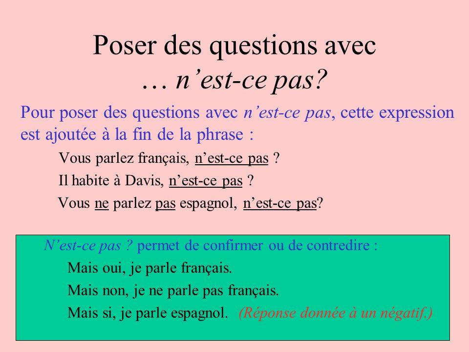 Poser des questions avec … nest-ce pas? Pour poser des questions avec nest-ce pas, cette expression est ajoutée à la fin de la phrase : Vous parlez fr