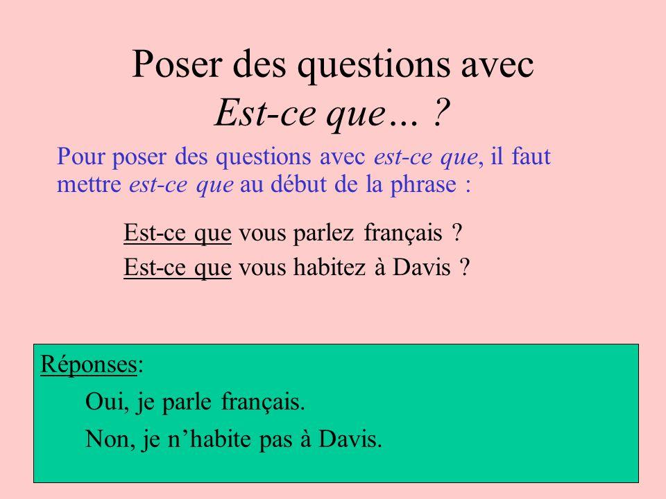 Poser des questions avec Est-ce que… ? Pour poser des questions avec est-ce que, il faut mettre est-ce que au début de la phrase : Est-ce que vous par