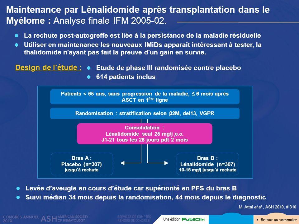 Maintenance par Lénalidomide après transplantation dans le Myélome : Analyse finale IFM 2005-02. M. Attal et al., ASH 2010, # 310 La rechute post-auto