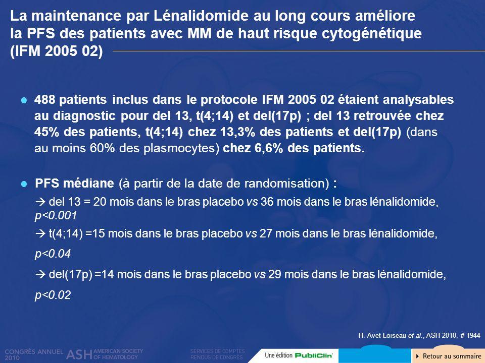 H. Avet-Loiseau et al., ASH 2010, # 1944 488 patients inclus dans le protocole IFM 2005 02 étaient analysables au diagnostic pour del 13, t(4;14) et d