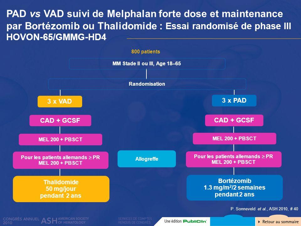 PAD vs VAD suivi de Melphalan forte dose et maintenance par Bortézomib ou Thalidomide : Essai randomisé de phase III HOVON-65/GMMG-HD4 800 patients Th