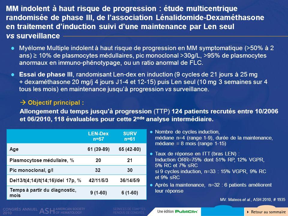 MM indolent à haut risque de progression : étude multicentrique randomisée de phase III, de lassociation Lénalidomide-Dexaméthasone en traitement dind