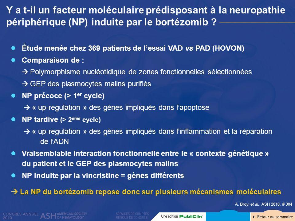 Y a t-il un facteur moléculaire prédisposant à la neuropathie périphérique (NP) induite par le bortézomib ? Étude menée chez 369 patients de lessai VA