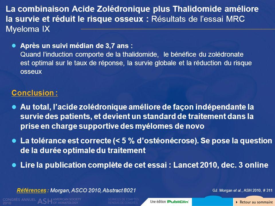 GJ. Morgan et al., ASH 2010, # 311 Après un suivi médian de 3,7 ans : Quand linduction comporte de la thalidomide, le bénéfice du zolédronate est opti