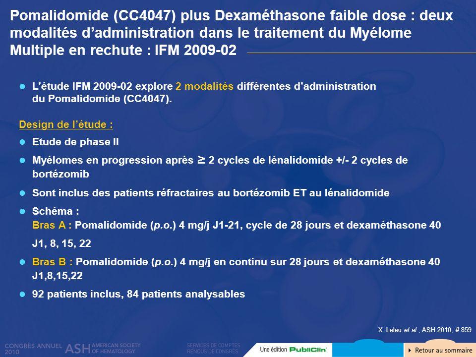X. Leleu et al., ASH 2010, # 859 Etude de phase II Myélomes en progression après 2 cycles de lénalidomide +/- 2 cycles de bortézomib Sont inclus des p