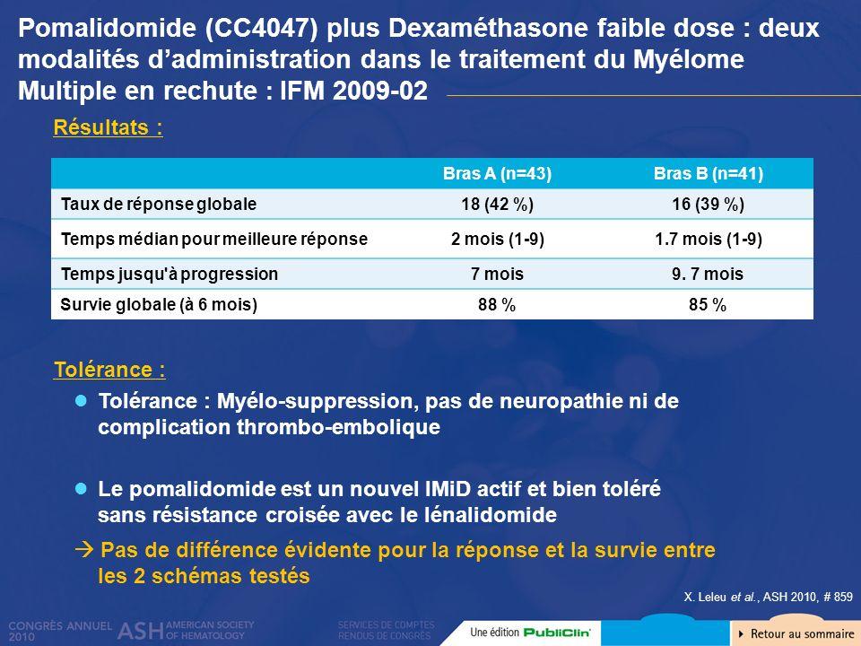X. Leleu et al., ASH 2010, # 859 Résultats : Tolérance : Myélo-suppression, pas de neuropathie ni de complication thrombo-embolique Tolérance : Le pom