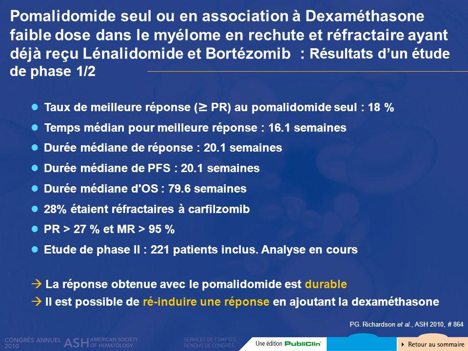 PG. Richardson et al., ASH 2010, # 864 Taux de meilleure réponse ( PR) au pomalidomide seul : 18 % Temps médian pour meilleure réponse : 16.1 semaines