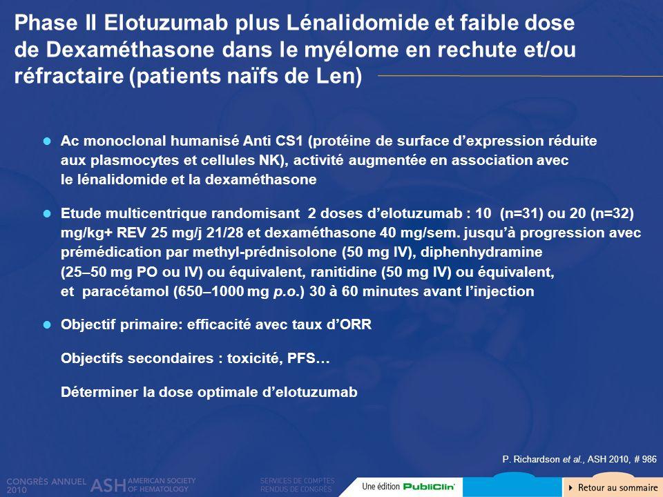 P. Richardson et al., ASH 2010, # 986 Phase II Elotuzumab plus Lénalidomide et faible dose de Dexaméthasone dans le myélome en rechute et/ou réfractai
