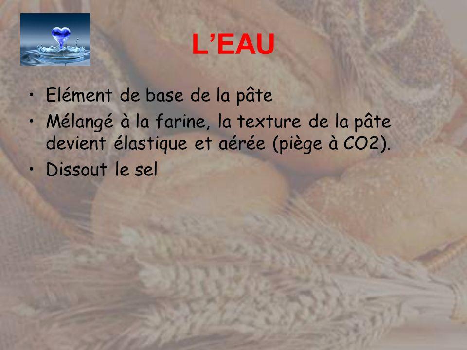LEAU Elément de base de la pâte Mélangé à la farine, la texture de la pâte devient élastique et aérée (piège à CO2). Dissout le sel