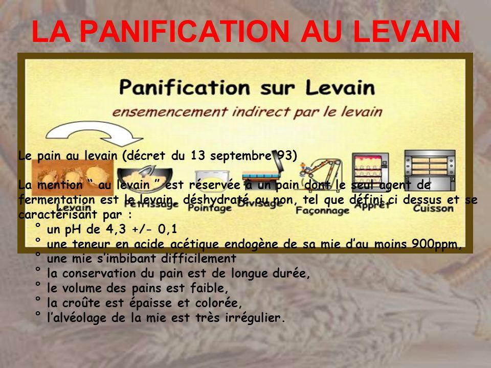 LA PANIFICATION AU LEVAIN Le pain au levain (décret du 13 septembre 93) La mention au levain est réservée à un pain dont le seul agent de fermentation