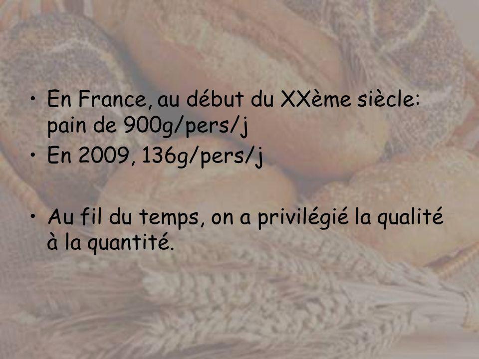 En France, au début du XXème siècle: pain de 900g/pers/j En 2009, 136g/pers/j Au fil du temps, on a privilégié la qualité à la quantité.
