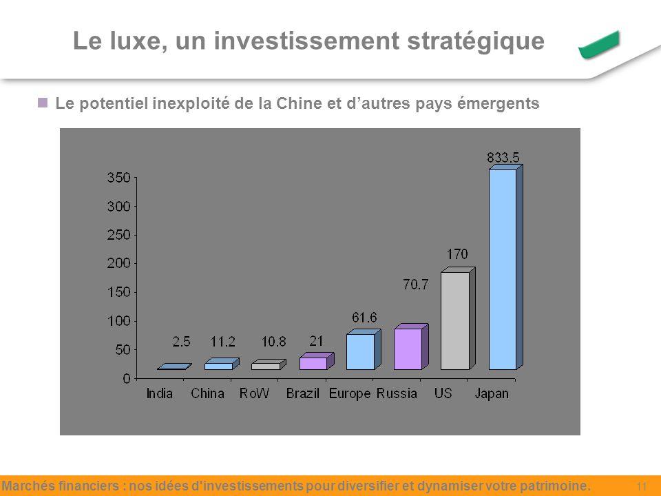 Le luxe, un investissement stratégique Le potentiel inexploité de la Chine et dautres pays émergents Marchés financiers : nos idées d investissements pour diversifier et dynamiser votre patrimoine.