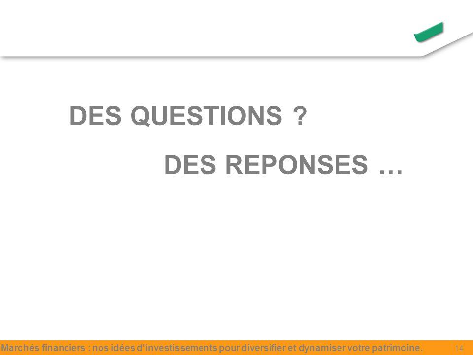 DES QUESTIONS .