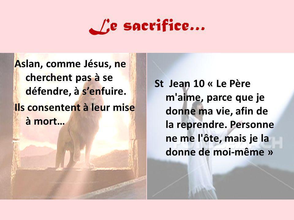 Le sacrifice… Aslan, comme Jésus, ne cherchent pas à se défendre, à senfuire. Ils consentent à leur mise à mort… St Jean 10 « Le Père m'aime, parce qu