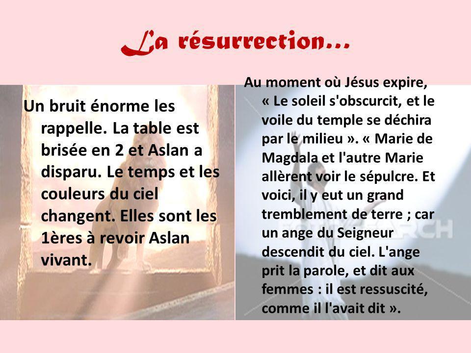 La résurrection… Un bruit énorme les rappelle. La table est brisée en 2 et Aslan a disparu. Le temps et les couleurs du ciel changent. Elles sont les