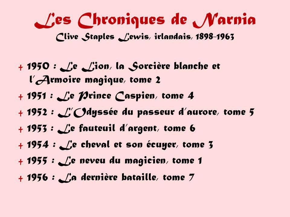 Les Chroniques de Narnia Clive Staples Lewis, irlandais, 1898-1963 1950 : Le Lion, la Sorcière blanche et lArmoire magique, tome 2 1951 : Le Prince Ca