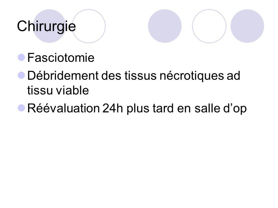 Chirurgie Fasciotomie Débridement des tissus nécrotiques ad tissu viable Réévaluation 24h plus tard en salle dop