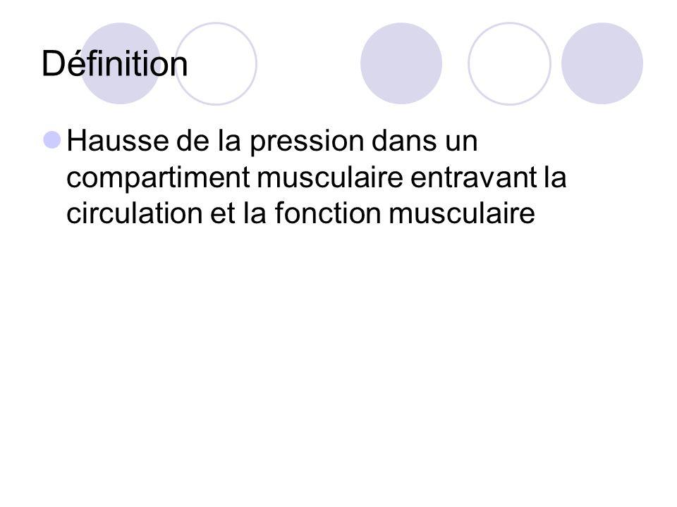 Définition Hausse de la pression dans un compartiment musculaire entravant la circulation et la fonction musculaire