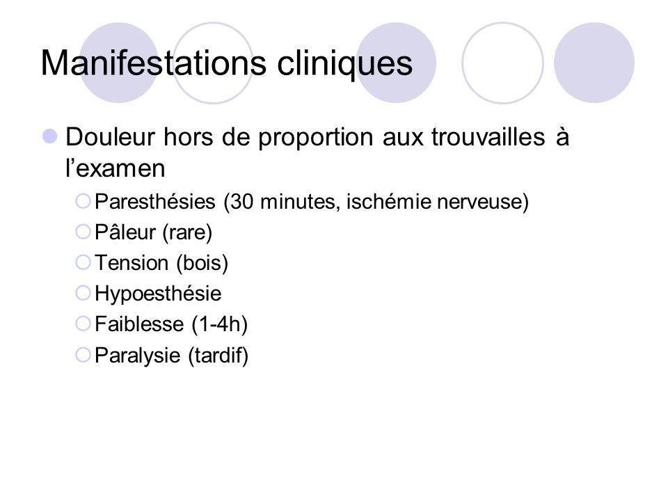 Manifestations cliniques Douleur hors de proportion aux trouvailles à lexamen Paresthésies (30 minutes, ischémie nerveuse) Pâleur (rare) Tension (bois) Hypoesthésie Faiblesse (1-4h) Paralysie (tardif)