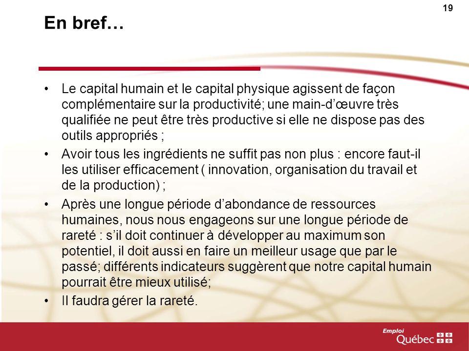 18 Le capital humain : une condition nécessaire, mais pas suffisante à elle seule, pour accroître la productivité Capital humain -Scolarité -Formation