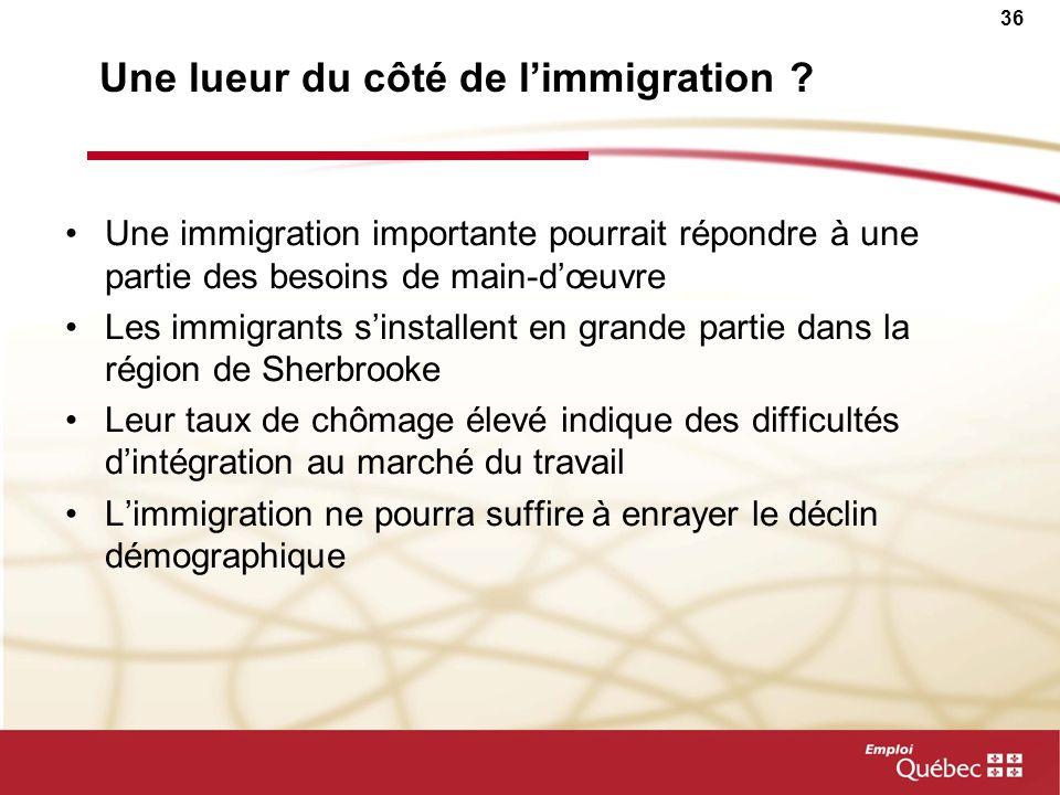 35 Le nombre dimmigrants augmente depuis quelques années en Estrie Migrations internationales ImmigrantsÉmigrants totaux Solde 1996-1997 1 101305796 2