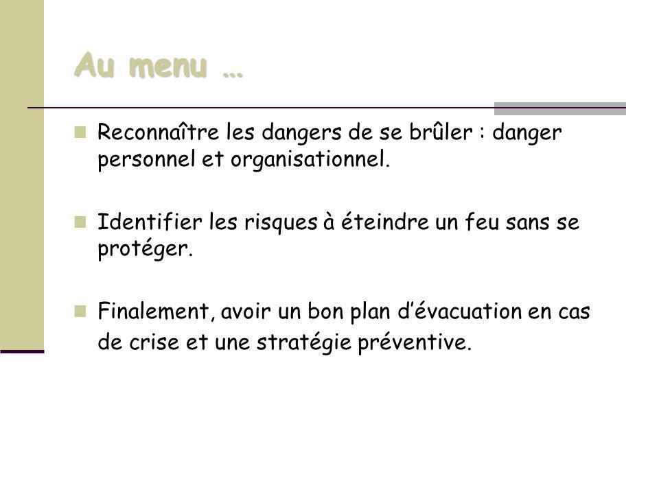 Au menu … Reconnaître les dangers de se brûler : danger personnel et organisationnel. Identifier les risques à éteindre un feu sans se protéger. Final