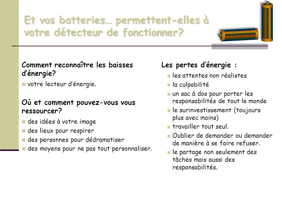 Et vos batteries… permettent-elles à votre détecteur de fonctionner? Comment reconnaître les baisses dénergie? votre lecteur dénergie. Où et comment p
