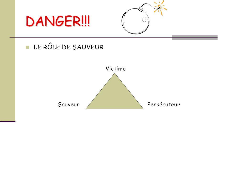 DANGER!!! LE RÔLE DE SAUVEUR SauveurPersécuteur Victime