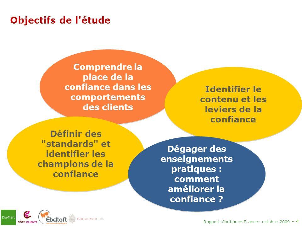 Rapport Confiance France– octobre 2009 - 4 Objectifs de l'étude Comprendre la place de la confiance dans les comportements des clients Identifier le c
