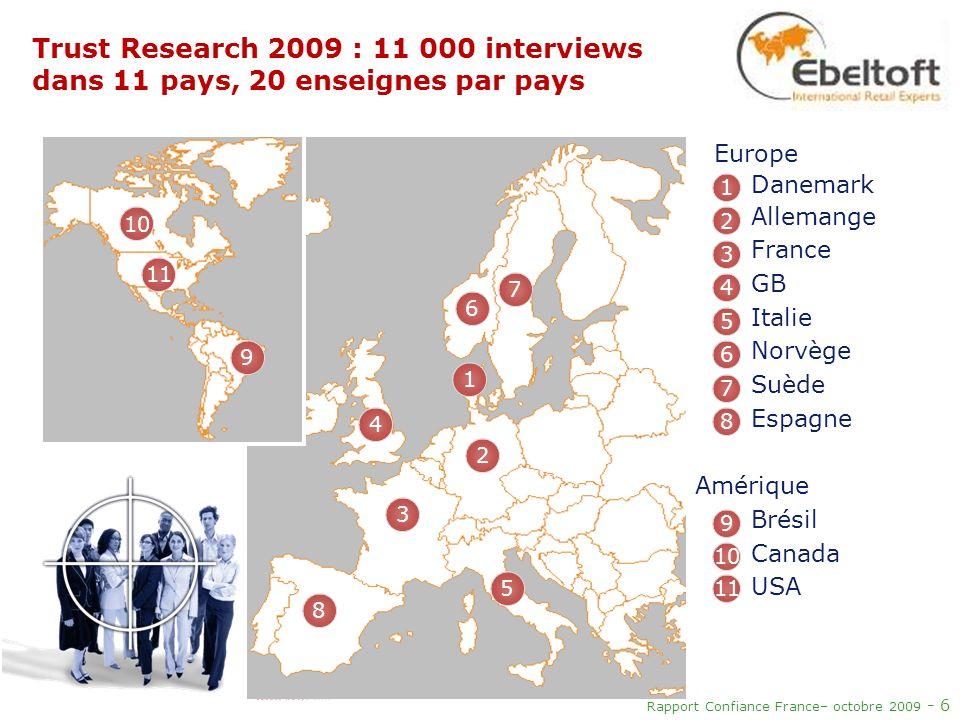 Rapport Confiance France– octobre 2009 - 6 Trust Research 2009 : 11 000 interviews dans 11 pays, 20 enseignes par pays 1 2 3 4 5 6 7 8 9 10 11 1 10 11
